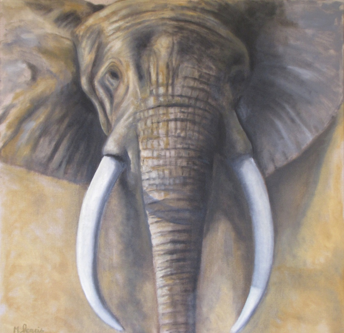 Peinture animali re marc legris el phants for Tableau tete d elephant