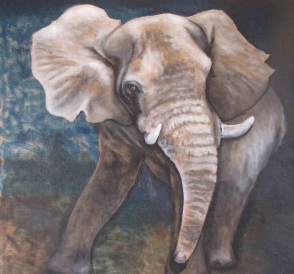 peinture animaliere portfolio animalier elephants