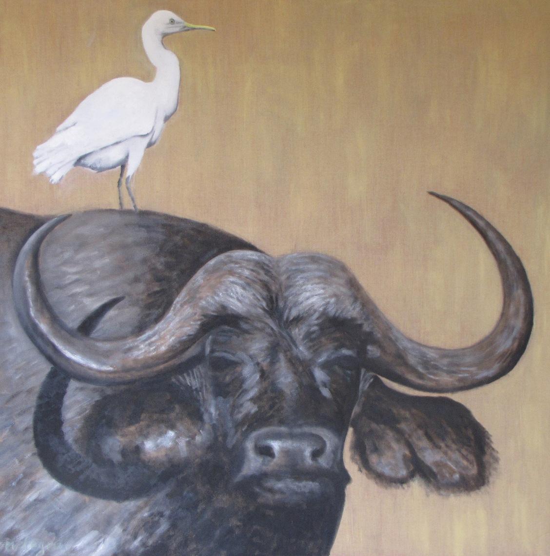 Les animaux - Page 5 Peinture-animaliere-vaches-buffle-et-heron-garde-boeuf-2008-huile-sur-toile-100x100cm